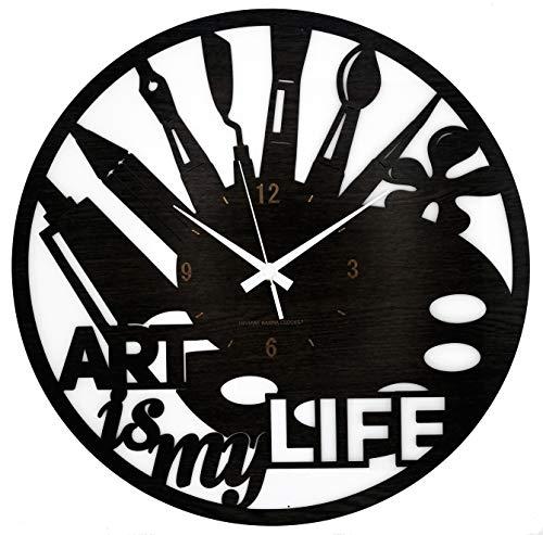 Instant Karma Clocks Orologio da Parete Grande 40x40 cm Art Is My Life Pittore Pennelli Acquerelli Disegno Artista, Marrone...
