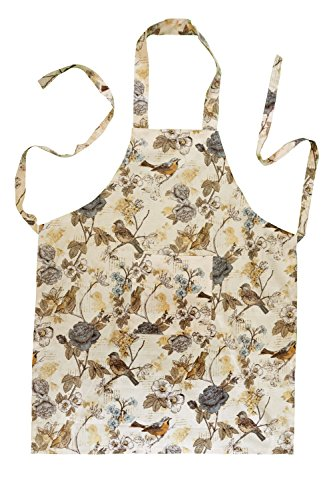 Stitch & Sparkle Set of 1 Apron, 1POT Holder, 1 Oven MITT and 4 Kitchen Towel, 100% Cotton, Aviary, Words Bird Beige