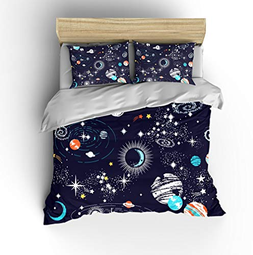 SHOMPE Galaxy Space Bedding Sets Kids Full Size,Blue Universe Adventure Stars Duvet Cover Sets with...