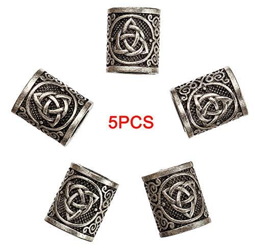 5PCS Celtics Knots Triquetra Viking Beads Charms for Hair Beard Bracelet Pendant Jewelry Making VKZZ03