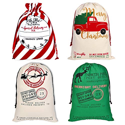 "4 Pcs Santa Sacks, Large Christmas Canvas Bag with Drawstrings for Gift Wrapping, Extra Large Reusable Santa Stocking Bags for Xmas Gifts, Christmas Thanksgiving Holiday Party Decor - Size 19.7""x27.6"""