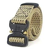 LLZGPZPD Cinturón De Lona Army Style Combat Belts Quick Release Cinturón Táctico Moda Hombres Lona Pretina Caza Al Aire Libre, Color Caqui, 150 Cm