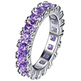 FENDINA Womens Silver Plated Pretty Manmade Amethyst CZ Crystal Promise Engagement Wedding Bands Bridal Eternity Anniversary Rings for Her Valentin's Day Gifts