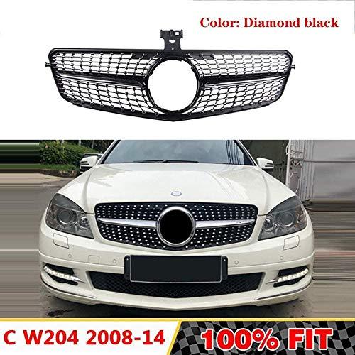 XKCCHW ABS Frontgrill passend für Mercedes C-Klasse W204 Diamantgrill C180 C200 C300 C250 C350 2008–2014, ohne Emblem, Schwarz, Silber Schwarz