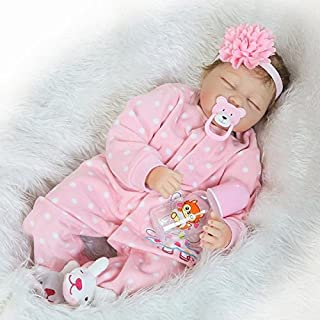Pinky Realistic 22 Inch 55cm Soft Dolls Vinyl Silicone Handmade Reborn Baby Dolls Real Touch Lifelike Looking Newborn Baby Girl Dolls Cute Child Birthday and Xmas Gift