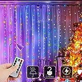 LED Lichtervorhang, Zorara USB Lichterkettenvorhang Bunt 300 LEDs 3x3M 8 Modi, LED Lichterketten Vorhang mit Fernbedienung IP65 Wasserfest für Schlafzimmer Hochzeit Weihnachten Innen und außen Deko