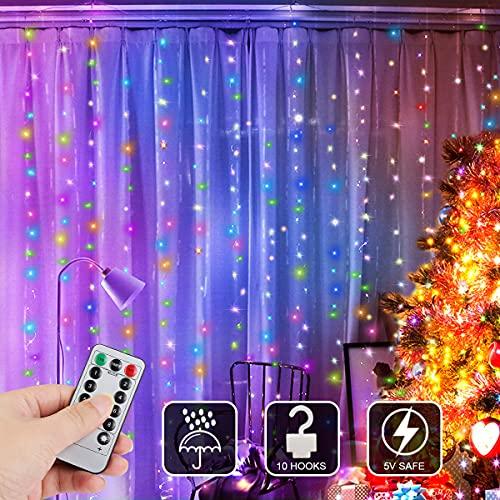 Cortina de Luces, Zorara Cortina de Luces LED Navidad 3m x 3m 300 LED Color USB Cortina Luces LED con 8 Modos Control Remoto IP65 Impermeable para Boda Fiesta de Ventana Interior y Exterior