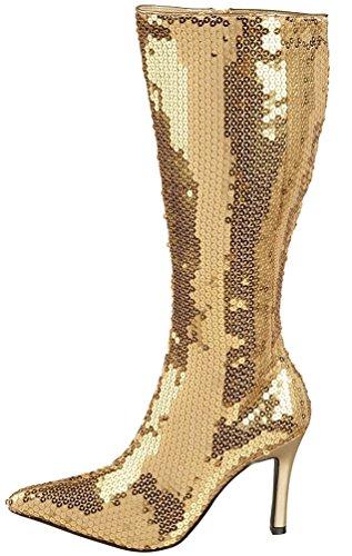 Karneval-Klamotten Disco Stiefel Pailletten Gold goldene Paillettenstiefel 80er Jahre Karneval Größe 37