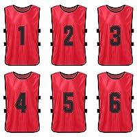 LIXADA ビブス 6枚セット 大人用 番号入り 練習ベスト 軽量速乾 ゼッケン サッカー バスケ フットサル 陸上 運動会 スポーツ イベント用