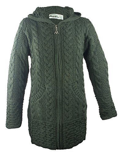 A Proud Tradition - This hooded sweater is the most famous style in Aran knitting. Made from 100% wool, this garment features a variety of Irish Knitting styles, each with their own symbolism and meaning. The honeycomb stitch represents the hardworki...