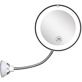 Updated 2020 Version 10X Magnifying Mirror With Light,Lighted 10X Magnifying Makeup Mirror With Light Poweful Suction Cup,360°Rotation Flexible Gooseneck Led Lighted Makeup Mirror For Bedroom Bathroom