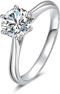 يدامي مويسانيت خاتم الخطوبة للنساء مطلي بالذهب فضة استرليني خواتم الزفاف لها