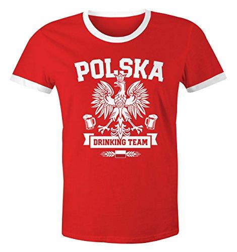 Herren WM-Shirt WM Polska Polen Poland Flagge World Cup Drinking Team 2018 Retro Fun rot-weiß L