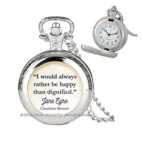Wklo0avmg I Would Always Rather be Happy Than Art Pendant, Jane Eyre Pocket Watch Necklace, be Happy, Charlotte Bronte, Literature, Book, Pendant,QK0O163