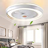 Ventilador De Techo 60W LED Lámpara Creative Regulable Ventilador De Techo Invisible Lámpara Luz De Techo Del Ventilador De Bajo Ruido Adecuado Para Sala De Estar Dormitorio Habitación Infantil,Rojo