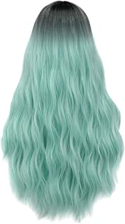 Mildiso Mint Green Wigs for Women Long Black Rooted Ombre Hair Wig Pastel Curly Wavy Heat Resistant Synthetic Wigs for Daily Party Cosplay Halloween (Green) M052GR