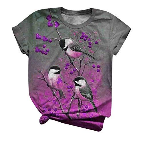 YANFANG Blusa de Camiseta para Mujer,con Cuello Redondo y Estampado Animal de Manga Corta de Talla Grande,Tnica Casual Elegante Tops Rayas T-Shirt Azul,Morada,Rojo,Amarillo