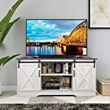 Rainbow Sophia Farmhouse Sliding Barn Door TV Stand for TVs up to 65', Home Living Room Entertainment Center, Wood Storage Cabinet with Doors and Shelves, Sargent Oak