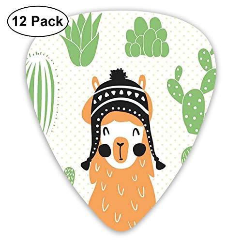 Gitaar Picks12pcs Plectrum (0.46mm-0.96mm), Llama In Een Traditionele Etnische Boliviaanse Hoed Lachende Comic Op Polka Dots Illustratie, Voor Uw Gitaar of Ukulele