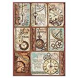 STAMPERIA Carta di Riso Formato A4 con Orologi, Multicolore, 29.7 x 21