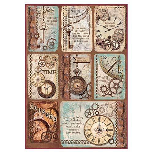 STAMPERIA DFSA4287 A4 Decoupage Reispapier verpackt Karten mit Uhren, Mehrfarbig, 29.7 x 21