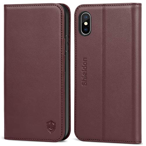 SHIELDON iPhone Xs Case, Genuine Leather iPhone Xs Wallet Case with Auto Sleep Wake Kickstand RFID Card Slots Magnetic Closure Gift Box Compatible with iPhone Xs (5.8 inch 2018 Release) - Wine Red