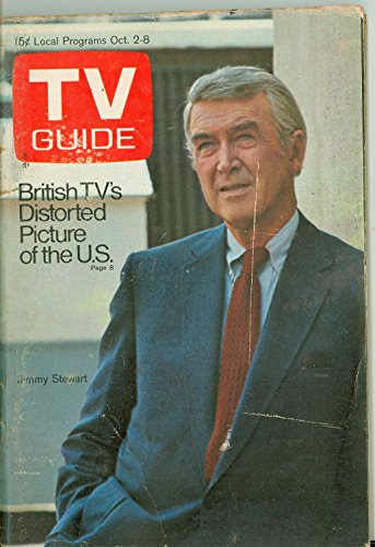 1971 TV Guide October 2 Jimmy Stewart - Pittsburgh Edition NO MAILING LABEL Very Good (3 out of 10) Well Used by Mickeys Pubs