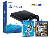 PS4 Slim 1Tb Negra Playstation 4 Consola + FIFA 19 + GTA V