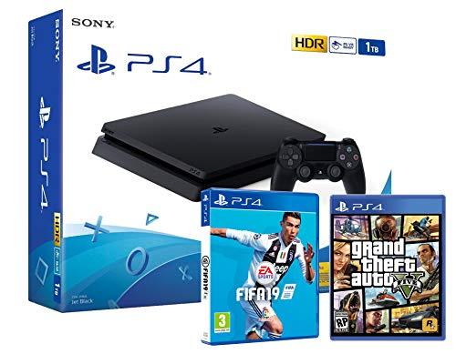 PS4 Slim 1Tb Playstation 4 Nera + FIFA 19 + GTA V