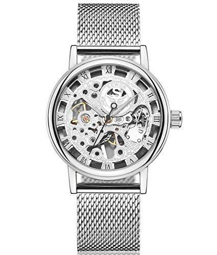 SEWOR Herren Hohl Skelett Carving Mechanische Handaufzugwerk Armbanduhr mit Mesh Band (Blanc2)