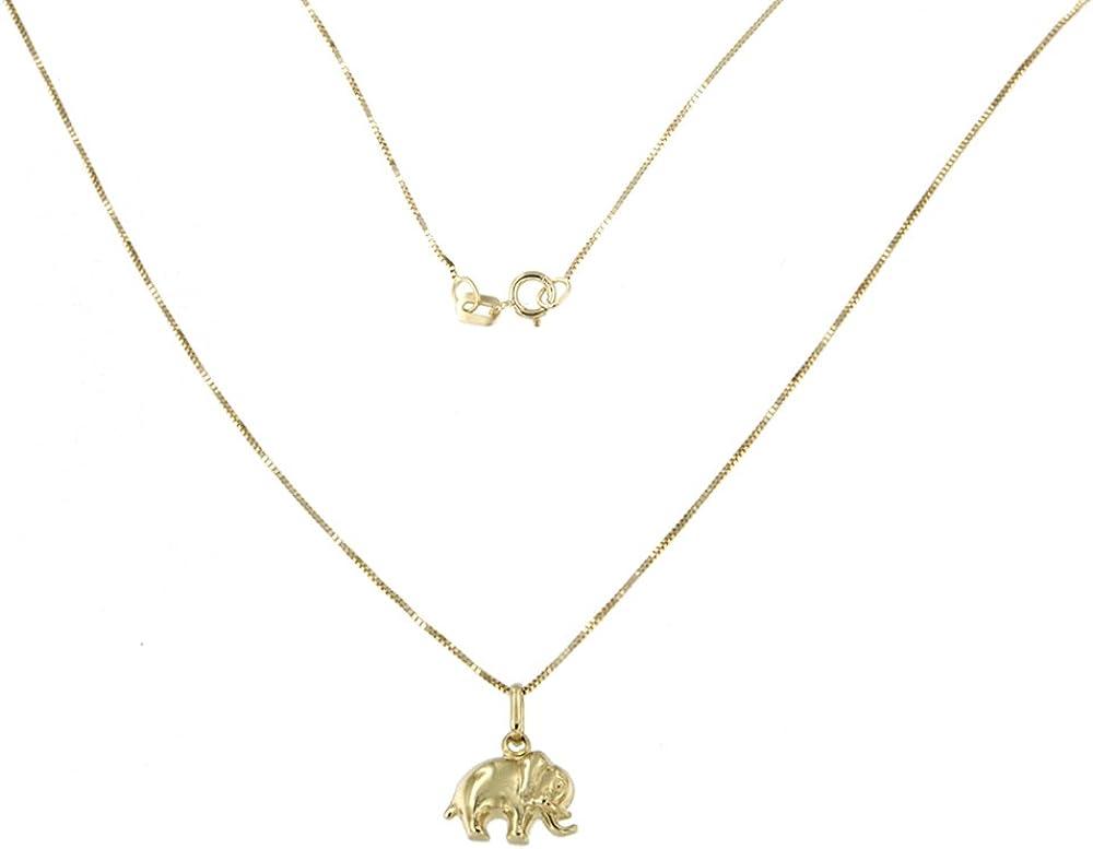 Lucchetta gioielli - catenina in oro giallo 375  con ciondolo elefante 2P2369MLA