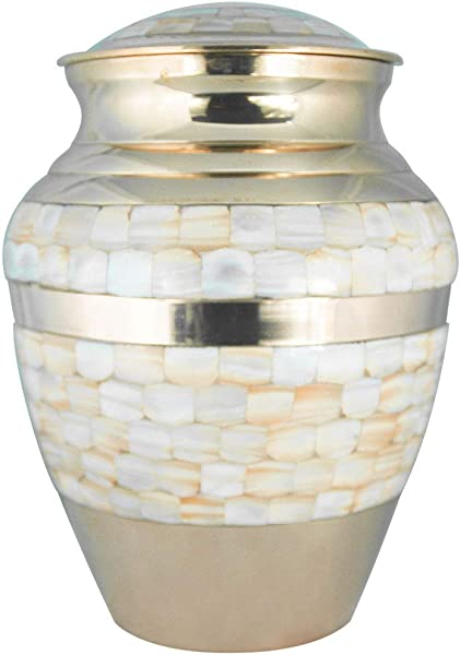 Cremation Urns For Human Ashes Adult Funeral Urn For Women Handcrafted In Brass Display Burial At Home Or In Niche At Columbarium Mother Of Pearl Golden Large Metal Urn For Ashes Adult