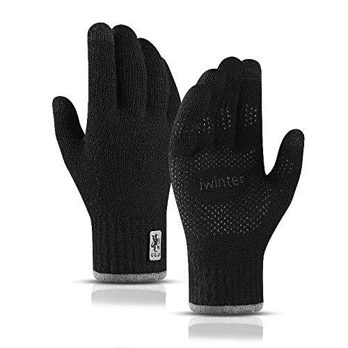 TAGVO Touchscreen gestrickte warme Winter Handschuhe, doppelt verdickte elastische Anti-Rutsch Fleece-Arbeitshandschuhe für Damen & Herren, zum Laufen Skifahren Radfahren - Einheitsgröße