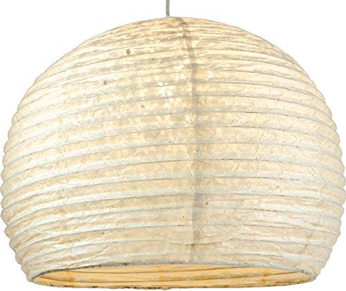 GURU SHOP Halbrunder Lokta Papierlampenschirm, Hängelampe Corona Ø 40 cm - Weiß, Lokta-Papier, Asiatische Deckenlampen aus Papier & Stoff