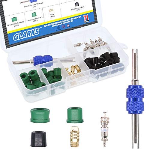 Glarks 71Pcs Auto A/C Air Conditioning Valve Core/Hose Gaskets/Valve/Double Head Dual Dismantling Remover Installer Tool Assortment Kit