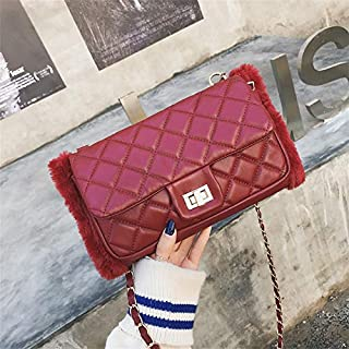 Adebie - Luxury Winter Famous Brand Designer Fur Pu Leather Women Messenger Bag Woman 2018 New Plaid Chain Lady Shoulder Crossbody Bag Burgundy []