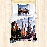 ABAKUHAUS Stadt Bettbezug Set für Einzelbetten, Morgen Australien Fluss, Milbensicher Allergiker geeignet mit Kissenbezug, Hellblau Orange Grün