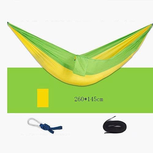 Hamac Hamac extérieur hamac en toile de parachute jaune-vert foncé hamac en double hamac hamac en bois hamac de détente voyage de loisirs hamac (260  145cm)