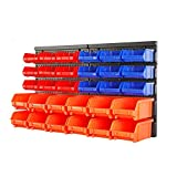 HORUSDY Wall Mounted Storage Bins Parts Rack 30PC Bin Organizer Garage Plastic Shop Tool