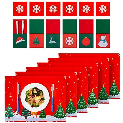 ZIIDOO 18PCS Manteles Individuales de Navidad,Bolsita para Cubiertos de Navidad,Decoración Navideña Mantel,Mantel Individual Sintió,Salvamanteles Individual,Para la Decoración de la Mesa Navideña