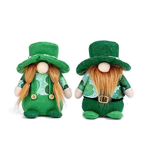 TRAINSTOO 2 muñecas irlandesas verdes sin rostro, Día de San Patricio, lindas muñecas, decoración de fiesta de Pascua, utilizado como decoración de habitación de cumpleaños