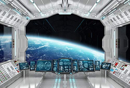Leowefowa Spaceship Engine Control Room Backdrop5x4ft Vinyl Photography Backgroud Metallic Hallway Module Cabin Backgroud Craft Star Window Galaxy Earth Planet Three-dimensional view Backdrop