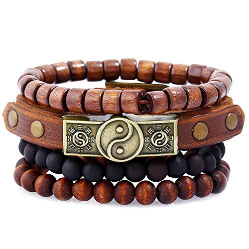 Meigold Vintage Armband Holzperlen Armreif Multilayer Armband Unisex orientalische Ornament Geschenk Buddhismus Holz Armband