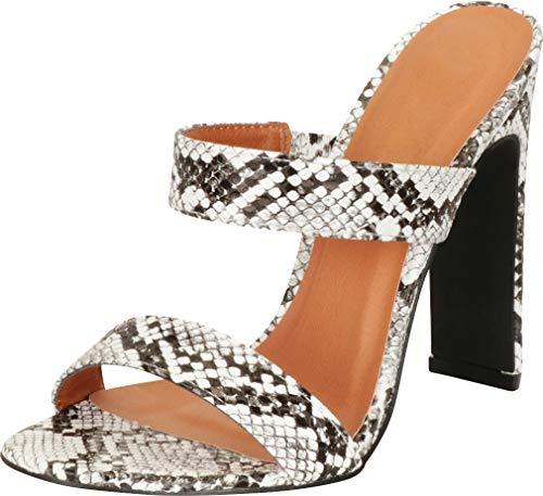 Cambridge Select Women's Open Toe Two-Strap Slip-On High Heel Mule Slide Sandal,8 B(M) US,Black Snake PU