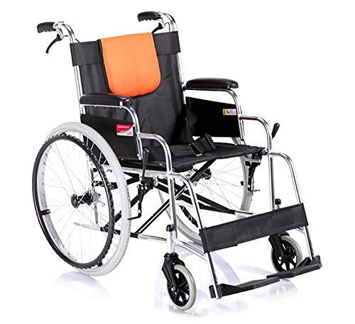 WXDP Rollstuhl mit Selbstantrieb aus Aluminiumlegierung, zusammenklappbar, leicht, bequem, manuell behindert, für ältere Menschen