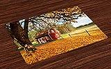 ABAKUHAUS Autunno Tovaglietta Americana Set di 4, Red Swedish Country House, Tovagliette in Tessuto Lavabile per Tavolo da Pranzo Cena, Multicolore