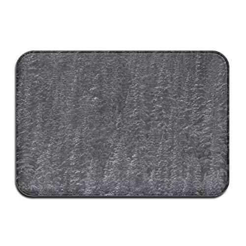 Gray Pine Trees Snowy Peaks Outdoor Mat Front Door Mats Entry Carpet Standard Rug