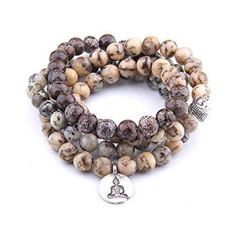 SASCD Agates Naturales Perlas Pulsera Perlas de oración Pulsera de Piedra del Encanto de Yoga 108 Pulsera de Mala para Mujer Joyería de Moda de energía (Metal Color : Yoga Pendant)