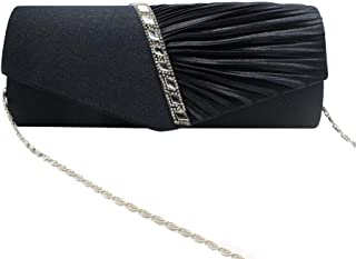 Songlin@yuan Women's European and American Style Rhinestone Three-Dimensional Twill Fashion Dinner Clutch Bag Banquet Bag Solid Color Shoulder Bag Chain Bag Size: 21 * 5 * 11cm (Color : Black)