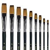 golden maple Künstler Pinsel-9 Stück Künstlerpinsel Flachpinsel-Set für Öl